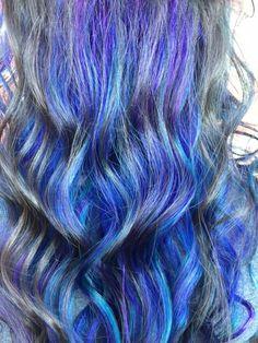 Peek a boo color block vivid rainbow Unicorn hair by Jess Wood at beyond the fringe in Hillsborough NJ