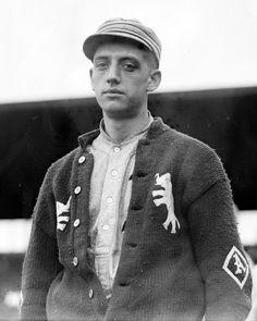 Weldon Wycoff models the sweater of the Philadelphia Athletics Baseball Club (1913)