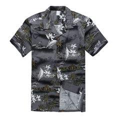 Boy Cotton Hawaiian Aloha Shirt in Grey map