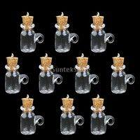 Description: Material: Glass Color: Clear Shape: Cup shape Quantity: 10 pcs Bottle height: Approx 2.