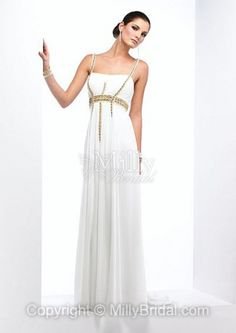 A-line Floor-length Chiffon Square White Beading Sleeveless Formal Dress