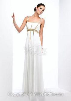 A-line Floor-length Chiffon Square White Beading Sleeveless Formal Dress