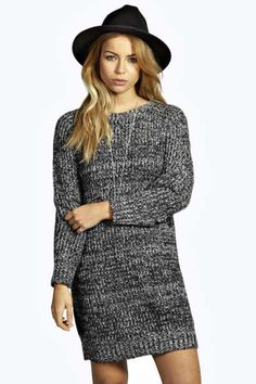 Hena Soft Marl Knit Jumper Dress at boohoo.com