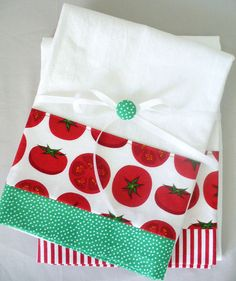 Kitchen towels with tomato pattern in red and green cotton fabric accent - set of two flour sack towels