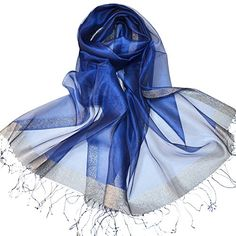 Sheer Glitter Sparkle Shawl Wrap Fringe Prom Weddings Evening Scarfs for Women (Royal Blue). We Changed The BRAND Name ELLES CLOTHING To PETAL ROSE.Eye Catching Mesh Evening Scarf. Super soft, cozy, and comfortable- this circle loop style scarf is a great accessory for spring, summer, winter, and fall. Perfect for a party or a special event. These Fashion Shinning Lightweight Luxurious Scarves have a Shimmer Metallic Thread Accent and an Open Knit Design. Are Available in Many Gorgeous…