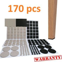 Self Adhesive Furniture Felt Pads LARGE PACK 170 Pcs Chair Leg Floor  Protectors Black Beige