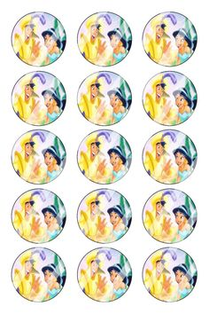 "Aladdin Jasmine Bottle Cap 1"" Circle Images #AJ37 (instant download or pre cut)"