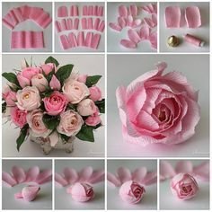 47 ideas for origami rose tutorial bouquets Large Paper Flowers, Tissue Paper Flowers, Paper Flower Backdrop, Handmade Flowers, Diy Flowers, Fabric Flowers, Crepe Paper Roses, Paper Flower Tutorial, Flower Template