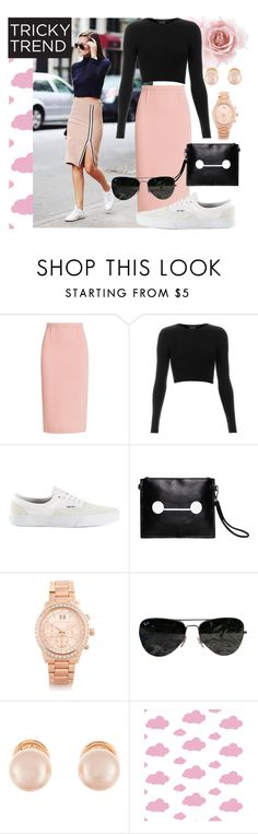 """Tricky Trend: Pencil Skirts and Sneakers"" by joslynaurora ❤ liked on Polyvore featuring Promod, Roland Mouret, Topshop, Vans, Michael Kors, Ray-Ban, Kenneth Jay Lane and TrickyTrend"