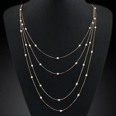 Double Chain Charm Pearl Necklace