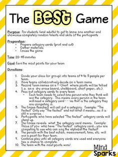 The BEST Game--A Team Builder! A great game to get kiddos talking, working as a team and having fun! Awesome for the first few days of school!