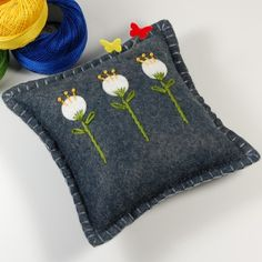Wool Felt Pincushion or Small Pillow  Three White by TheBlueDaisy