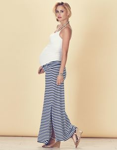 Nautical Striped Maternity Maxi Skirt | Seraphine Maternity