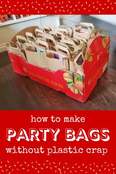Do you hate the plastic crap in that shows up in kids' party bags? Take a look at a whole lot of suggestions to make party bags without plastic crap! Baby Party Bags, 1st Birthday Party Bags, Childrens Party Bags, Dragon Birthday Parties, Wild One Birthday Party, 4th Birthday, Party Prizes, Kid Party Favors, Party Favor Bags