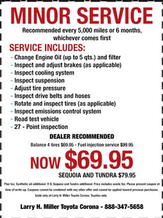 Larry H Miller Toyota Corona >> 9 Best Service Specials Images In 2015 Auto Service
