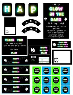Glow in the dark party complete party package printable with personalization NO invite by delightfulprints on Etsy, $12.00