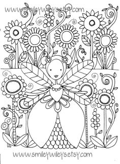 Set of 5 different Fairy Happy Printable Colouring Pages by smileywileys on Etsy, $1.50