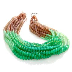 .:* L - Rara Avis by Iris Apfel  beaded twisted necklace in deep sea green and beige. Sooo gorgeous!