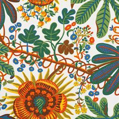 Josef Frank  - Textile Aralia 315 Linen | Svenskt Tenn A bold pattern for the time, this large patterned linen cretonne was designed around 1928. It was introduced in the Warte district in Vienna con The large lobed leaves are almost the same as those found on the house plant Aralia.