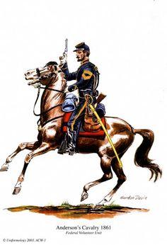 ACW Union: Anderson´s Cavalry - Federal Volunteer Unit, by Gordon Davis. Classic Army, Civil War Art, Union Army, Military Art, Military Uniforms, Le Far West, United States Army, American Revolution, American Civil War