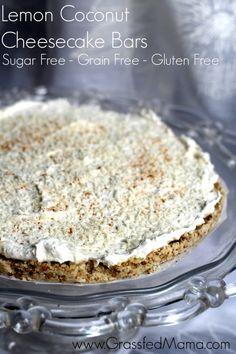 Lemon Coconut Cheesecake Bars Sugar Free, Grain Free - Grassfed Mama