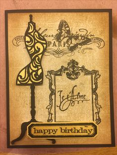 Paris Birthday card using stamps from Close to My Heart and Cricut.
