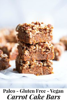 These Carrot Cake Bars give you all the sweet spice of your favorite carrot cake in bar form! Complete with a deliciously nutty streusel topping and dairy-free cream cheese icing. Theyre gluten free paleo egg free and vegan. Paleo Baking, Gluten Free Baking, Baking Recipes, Paleo Recipes, Candida Recipes, Paleo Carrot Cake, Carrot Cake Bars, Paleo Dessert, Healthy Desserts