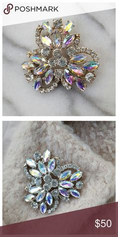 """Nasty Gal Ariel Jeweled Brooch Large sparkly flower-shaped brooch with iridescent crystals in gold tone settings. Back lever closure. 2.75"""" x 2.5"""". All measurements approximate. New in package. Nasty Gal Jewelry Brooches"""