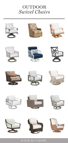 Shop a wide variety of outdoor swivel chair for your porch or patio from Kathy Kuo Home! Outdoor Dining, Outdoor Tables, Outdoor Spaces, Al Fresco Dining, Patio Chairs, Porch Ideas, Swivel Chair, Rooftop, Fall Decor