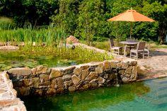 Bio-Schwimmteich im Garten brunnen unterschiedliche ebenen