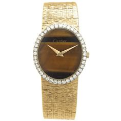 Cartier by Piaget Ladies Yellow Gold Diamond Tiger Eye manual wind Wristwatch | 1stdibs.com