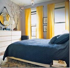 37 Ideas for bedroom colors yellow curtains Yellow And Grey Curtains, Curtains For Grey Walls, Yellow Gray Bedroom, Yellow Accent Walls, Grey Bedroom Design, Yellow Bedding, White Bedroom, Grey Yellow, Yellow Turquoise