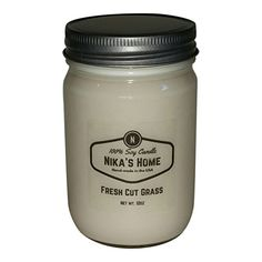 Nikas Home Fresh Cut Grass Soy Candle  12oz Mason Jar *** Learn more by visiting the image link.-It is an affiliate link to Amazon. #CandlesHolders