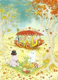 """Art by Yasuhiro Nakura, character designer for the 1990 Moomin series, Tanoshii Moomin Ikka (last illustration is of Tove Jansson with her characters)"" Moomin Wallpaper, Cartoon Wallpaper, Tove Jansson, Moomin Valley, Book Cafe, Little My, Cartoon Drawings, Cute Art, Fairy Tales"