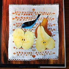 """Pears for Fall, I helped a Dear Friend make pear sauce today.  What a perfect illustration! ~ Mary Walds Place - Beautiful illustration from """"The Wonderful Tree""""; written and illustrated by Gyorgy Lehoczky, 1974"""