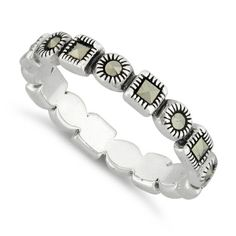 Sterling Silver Stackable Eternity Marcasite Ring-$10.35