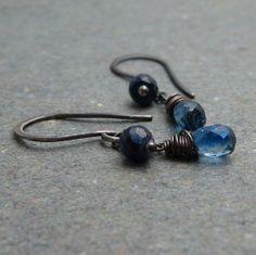 Kyanite Sapphire Dangle Earrings . Blue Gemstone by vickiorion, $34.00