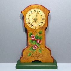 9.5 Tall Handmade Mini Grandfather Style Wood Mantel Clock Hand Painted Pecan Finish Floral One Stroke Roman Numerals Battery Operated Gift Painted Books, Hand Painted, Flower Crew, Wood Shoe Rack, Handmade Clocks, Wood Mantels, 1st Anniversary Gifts, One Stroke Painting, Wood Clocks