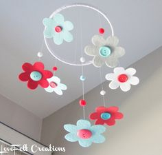 Make yourself with felt and buttons and aN embroidery hoop. Crib Mobile - Baby Girl Mobile - Baby crib mobile -Aqua and Red - Many Colors Available :)