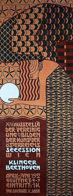 12-26 - Alfred Roller, poster for the fourteenth Vienna Secession exhibition, 1902. Dense geometric patterns animate the space.