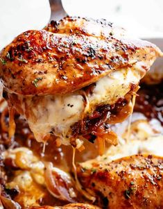 French Onion Stuffed Chicken Casserole makes for a delicious dinner! Juicy, succulent chicken breasts stuffed with caramelized onions and glorious melted cheese. A perfect weeknight or weekend dinner. Low Carb and Keto approved! Chicken Thights Recipes, Chicken Parmesan Recipes, Healthy Chicken Recipes, Recipe Chicken, Chicken Salad, Fish Recipes, Healthy Stuffed Chicken, Chicken Recipes With Cheese, Baked Boneless Chicken Recipes