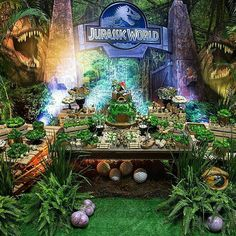 Jurassic World party Birthday Party At Park, Harry Birthday, 5th Birthday Party Ideas, Party Themes For Boys, Dinosaur Birthday Party, 4th Birthday, Jurassic World, Festa Jurassic Park, Jurrassic Park