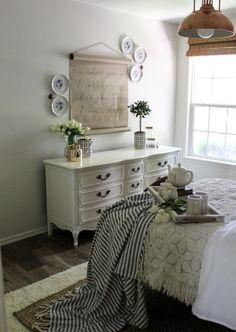 CottonStem.com guest room farmhouse bedroom decor white walls copper