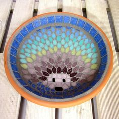 Rainbow Hedgehog Mosaic Garden Bird Bath by JoSara on Folksy. Mosaic Crafts, Mosaic Art, Mosaic Glass, Mosaic Birdbath, Mosaic Garden, Hedgehog Bath, Cuba, Bird Bath Garden, Mosaic Designs