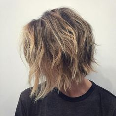 angled shag bob with balayage                                                                                                                                                                                 More