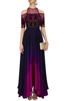 Navy blue and purple embroidered ombre high low gown available only at Pernia's Pop Up Shop. #happyshopping #shopnow #ppus