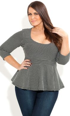City Chic - JACQUARD PEPLUM TOP - Women's plus size fashion