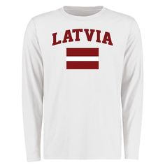 Latvia Flag Long Sleeve T-Shirt - White