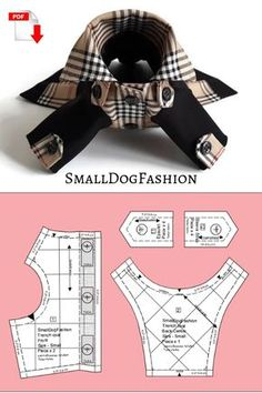 Dog clothes patterns for small dogs Tartan Coat and Hat set PDF dog clothes Pattern dog Hat for dogs Small dog clothes Dog coat pattern PDF - Trench Coat & Hat set for small dog size-Small Pattern & sewing instructions. Dog Coat Pattern, Coat Pattern Sewing, Coat Patterns, Clothing Patterns, Small Dog Clothes Patterns, Small Dogs, Big Dogs, Pekinese, Dog Items