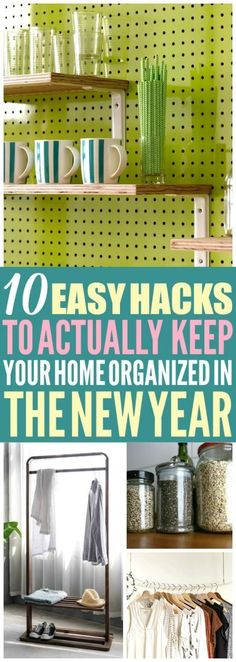 These 10 new years organization hacks are THE BEST! I\'m so happy I found these AMAZING organization tips! Now I have a great new years resolutions and a way to keep my home organized and clean! Definitely pinning these home hacks! #organization #homeorganization #organizing #homehacks
